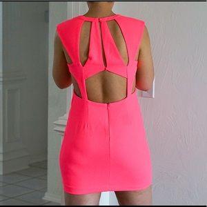 Dresses & Skirts - Hot Pink Caged Back Mini Dress